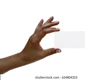 Isolated african female hand holds white card on a white background.