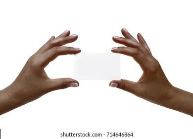Isolated african female hands hold white card on a white background.