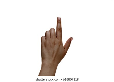 Isolated african female index finger on a white background.