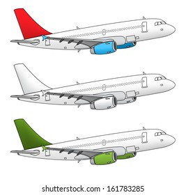 Isolated airplane design in different color schemes