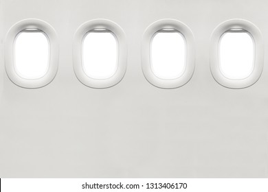 Isolated airplane window from customer seat view