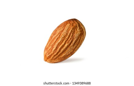 Isolated of almonds nut collection on white background. Clipping path -Image.