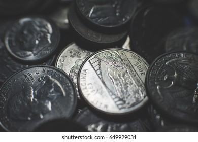 Isolated american coins background