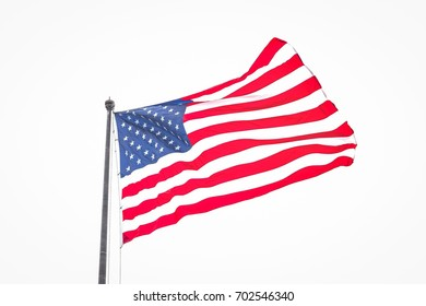 Isolated American Flag Rippling in Wind On Cloudy Day