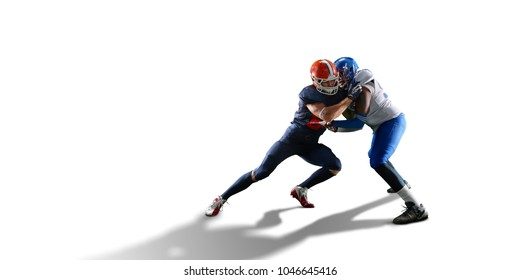 Isolated American football players fight for the ball in white background