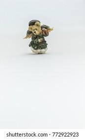 Isolated angel bear against white background
