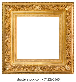 Isolated antique gold wood frame over white background with clipping path included.