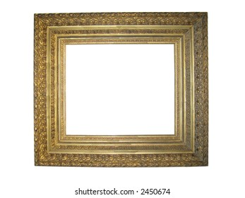 isolated antique ornate gilt picture frame