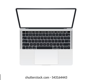 Isolated Apple MacBook Pro notebook computer mockup with keyboard and touch bar music key