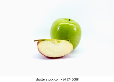 Isolated Apple and Sliced apple picture.