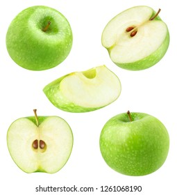 Isolated apples. Collection of whole and cut green apples isolated on white background with clipping path