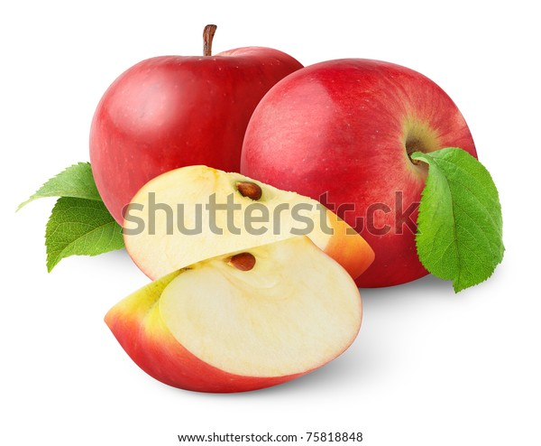 Isolated apples. Cut red apple fruits isolated on white background