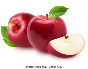 Isolated apples. Two whole red, pink apple fruits with slice isolated on white with clipping path