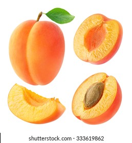 Isolated apricots. Collection of whole and cut apricot fruits isolated on white background with clipping path