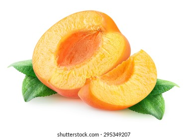 Isolated apricots. Cut apricot fruits isolated on white background, with clipping path