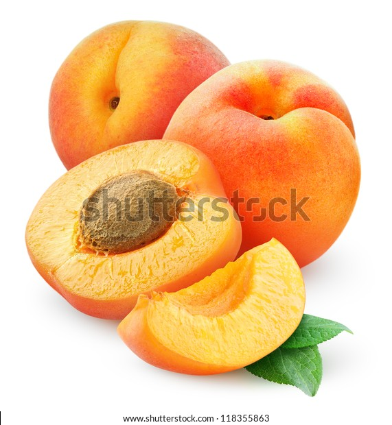 Isolated apricots. Cut fresh apricot fruits isolated on white background