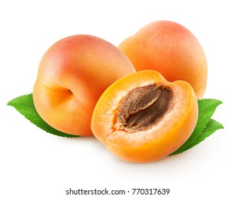 Isolated apricots. Two whole apricot fruit and half with leaves isolated on white background with clipping path