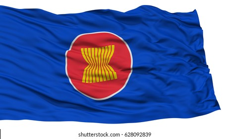 Isolated ASEAN Flag, Waving on White Background, High Resolution