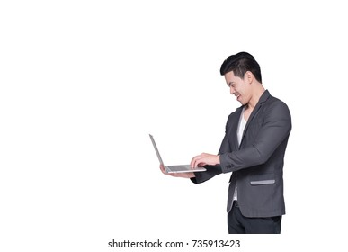 isolated Asia businessman using computer laptop.