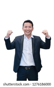 isolated asian business man celebrating success