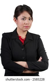 Isolated Asian Businesswoman with arms crossed