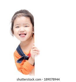 Isolated asian girl holding blank board