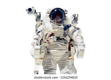 isolated astronaut flying in space. Elements of this image furnished by NASA