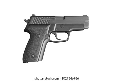 Isolated automatic 9mm handgun pistol on white background