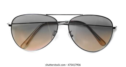 Isolated Aviator Sunglasses with Orange Lenses