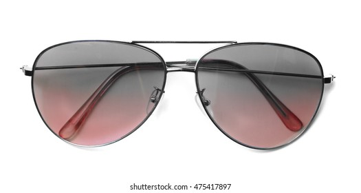 Isolated Aviator Sunglasses with Red Lenses