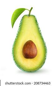 Isolated avocado. Half of fresh avocado fruit with stone and leaf over white background