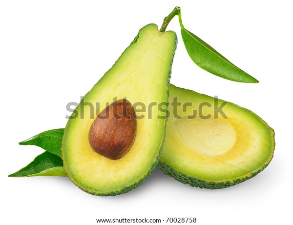 Isolated avocado. One fresh green avocado fruit with leaf cut in half isolated on white background