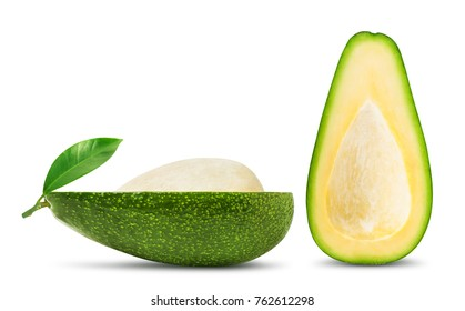 Isolated avocado. Two halves of fresh avocado fruit with seed and leaf isolated on white background