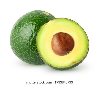 Isolated avocado. Whole avocado and half with seed isolated on white background with clipping path
