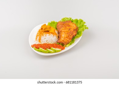 Isolated Ayam goreng penyet, fried chicken ala Indonesia, Indonesian food