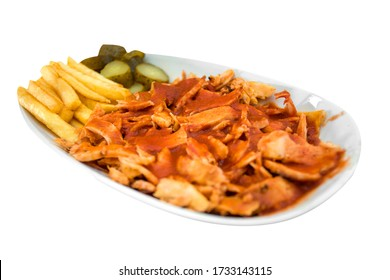 in the isolated background; chicken doner in white plate / tavuk iskender