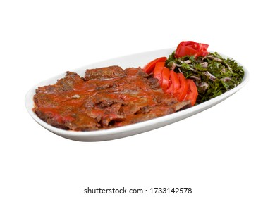 in the isolated background; meat doner in white plate  / et iskender