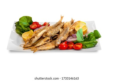 in the isolated background; sardines in white plate