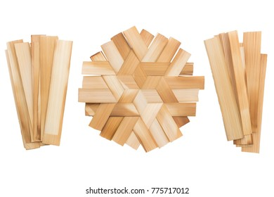 isolated Bamboo cut Then put together. On a white background.