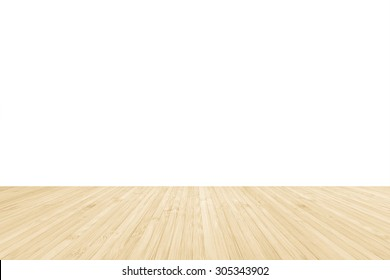 Isolated bamboo wood floor in yellow cream color on white wall background