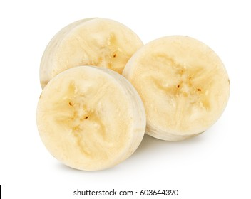 Isolated banana. Peeled banana slices isolated on white, with clipping path