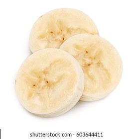 Isolated banana slices. Banana slice (cut) isolated on white, with clipping path