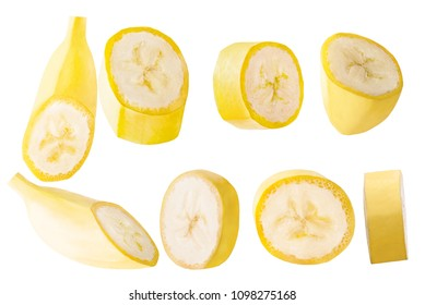 Isolated bananas. Collection slised banana fruits isolated on white background with clipping path as package design element and advertising.