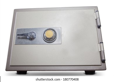 Isolated of bank safe on white background