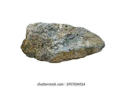 Isolated basalt rock stone on white background. extrusive igneous  (volcanic) rock
