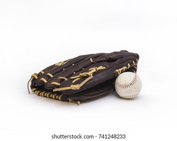 Isolated baseball and glove on white background
