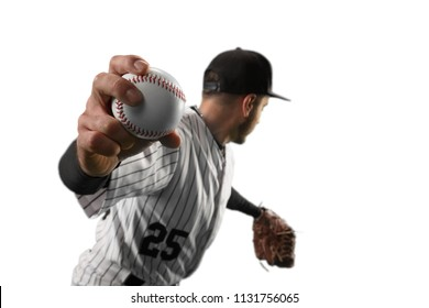 Isolated Baseball player throws the ball on white background