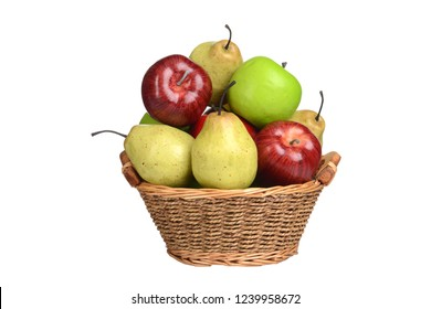 isolated basket of apples and pears