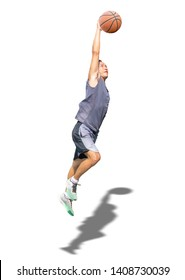 Isolated Basketball in hand man jumping on a white background with clipping path...