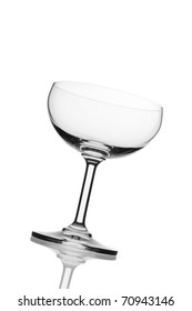 Isolated beautiful champagne saucer glass with white background.